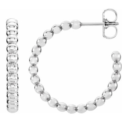 Sterling Silver 17 mm Beaded Hoop Earrings