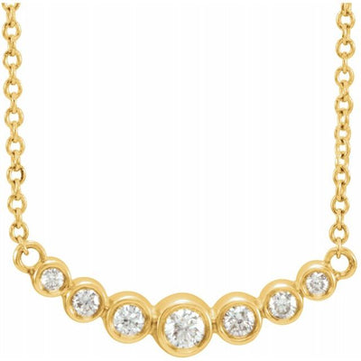 "14K Yellow 1/5 CTW Diamond 16-18"" Necklace - TreasureFineJeweler"