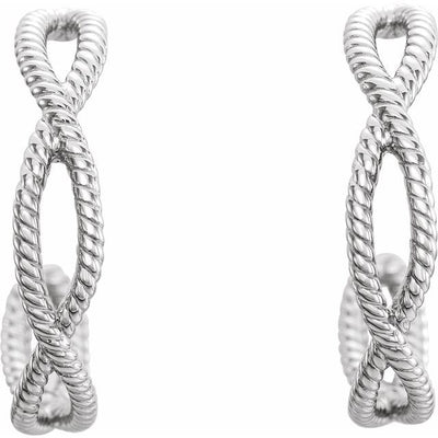 Sterling Silver 20x4 mm Rope Hoop Earrings