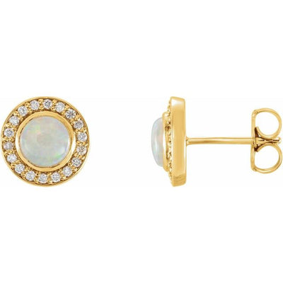 14K Yellow 6 mm Opal & 1/5 CTW Diamond Halo-Style Earrings