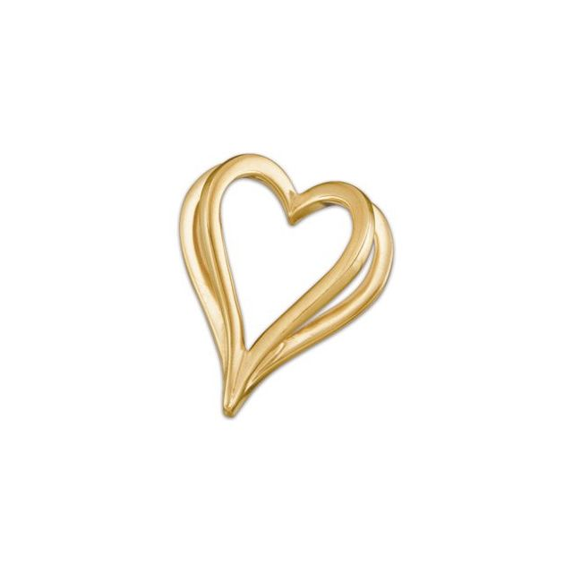 14K Yellow Shadow Heart Slide Pendant