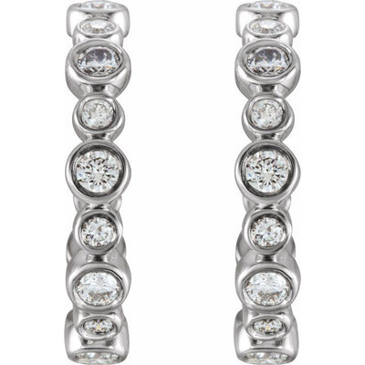 14K White 3/8 CTW Diamond Hoop Earrings