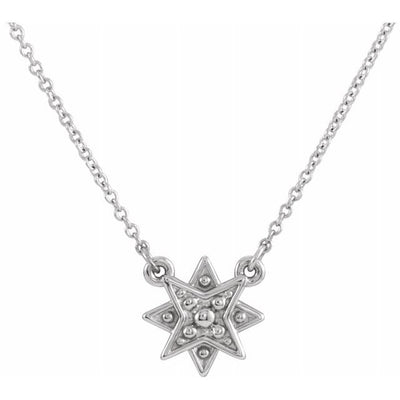 "Sterling Silver Star 16-18"" Necklace"
