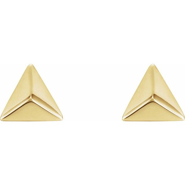 14K Yellow Pyramid Earrings