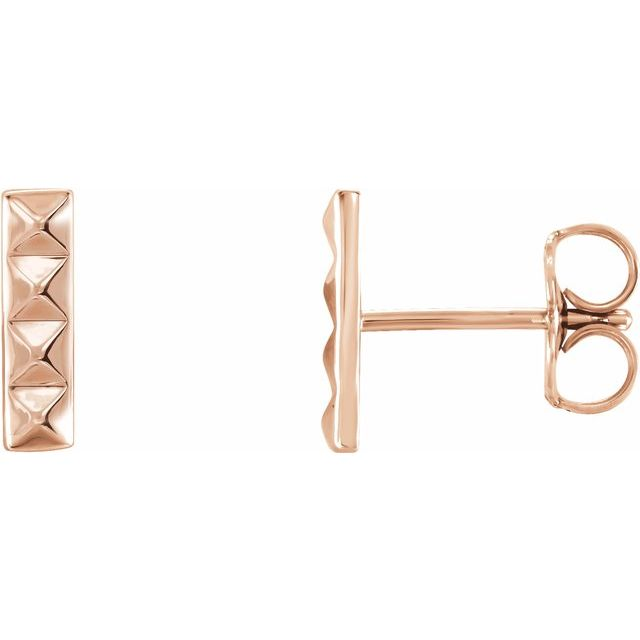 14K Rose Pyramid Bar Earrings