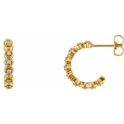 14K Yellow 1/6 CTW Diamond Hoop Earrings