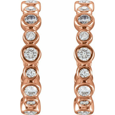 14K Rose 3/8 CTW Diamond Hoop Earrings