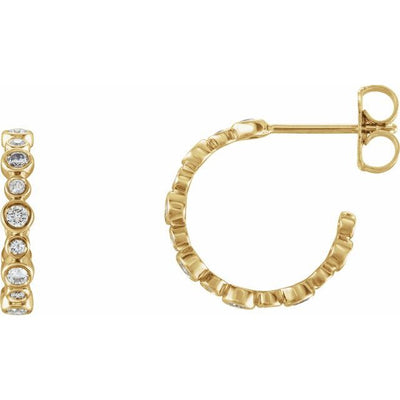 14K Yellow 3/8 CTW Diamond Hoop Earrings