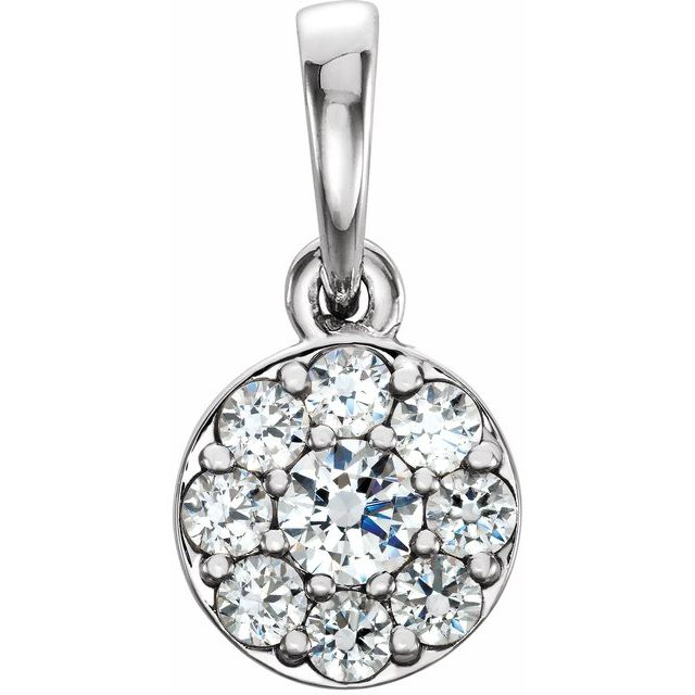 14K White 1/4 CTW Diamond Pendant