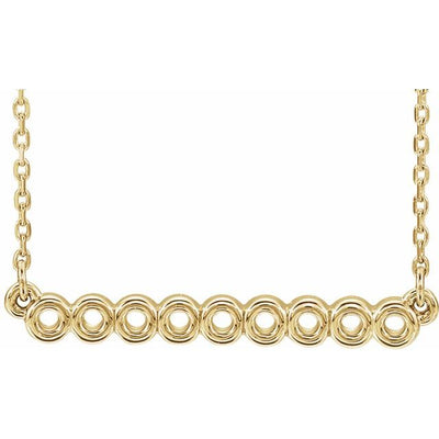 "14K Yellow Circle Bar 16""-18"" Necklace"