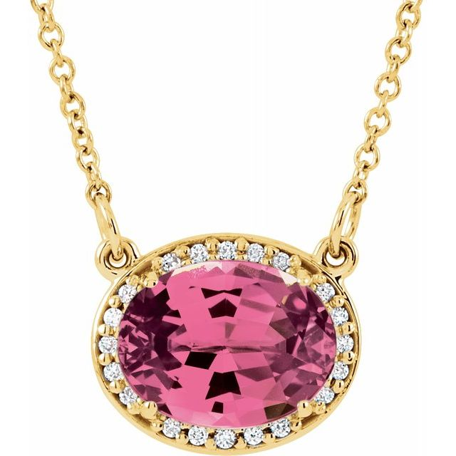 "14K Yellow Pink Tourmaline and .05 CTW Diamond  16.5"" Necklace"