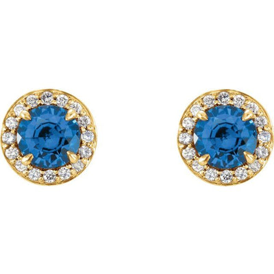 14K Yellow 5 mm Round Sapphire & 1/8 CTW Diamond Earrings
