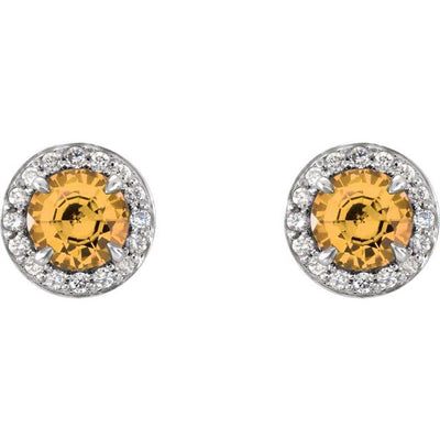 14K White 5 mm Round Citrine & 1/8 CTW Diamond Earrings