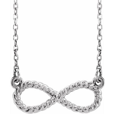 "14K White Rope Infinity-Inspired 18"" Necklace"