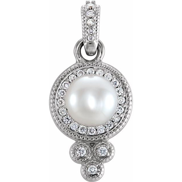 14K White 6-6.5 mm Freshwater Cultured Pearl & 1/8 CTW Diamond Pendant