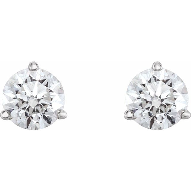 14K White 3/4 CTW Diamond Earrings