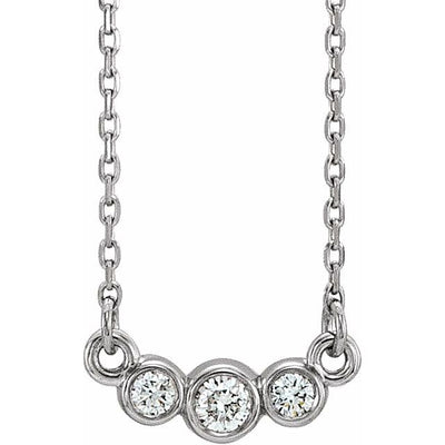 "14K White Graduated Bezel-Set 1/8 CTW Diamond 16-18"" Necklace"