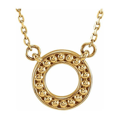 "14K Yellow Beaded Circle 16-18"" Necklace"