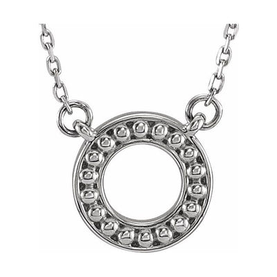 "Sterling Silver Beaded Circle 16-18"" Necklace"
