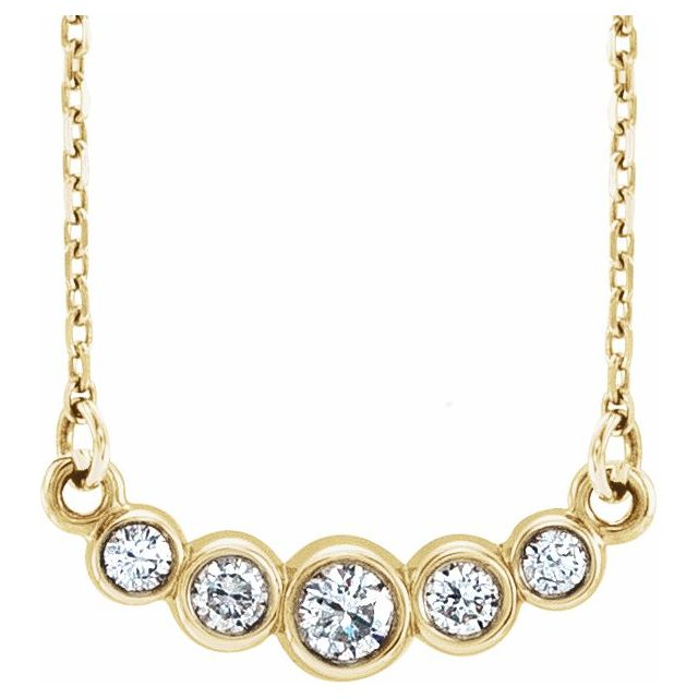 "14K Yellow Graduated Bezel-Set 1/5 CTW Diamond 16-18"" Necklace"