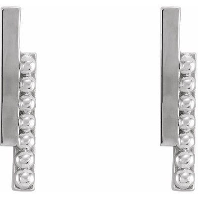 Sterling Silver Beaded Bar Earring
