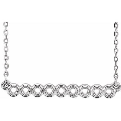 "Sterling Silver Circle Bar 16""-18"" Necklace"
