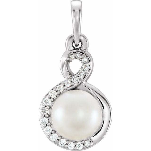 14K White Freshwater Cultured Pearl & .07 CTW Diamond Pendant