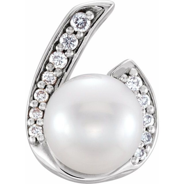 14K White Freshwater Cultured Pearl & .06 CTW Diamond Pendant