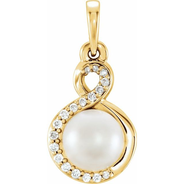 14K Yellow Freshwater Cultured Pearl & .07 CTW Diamond Pendant