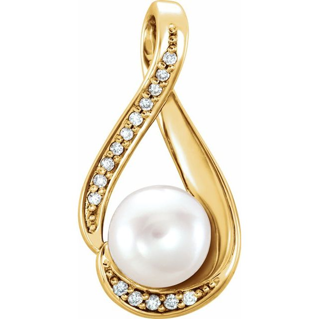 14K Yellow Freshwater Cultured Pearl & .05 CTW Diamond Pendant