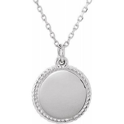 "Sterling Silver Engravable Round 16-18"" Rope Necklace"