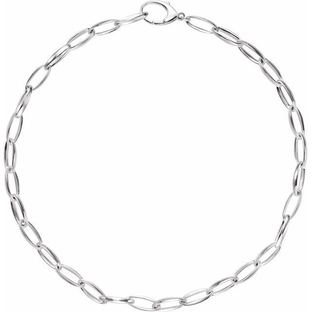 "Sterling Silver 7.25 mm Oval Link 17"" Chain"