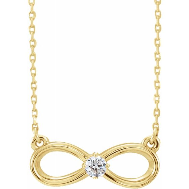 "14K Yellow 1/10 CT Diamond Infinity-Inspired 16-18"" Necklace"