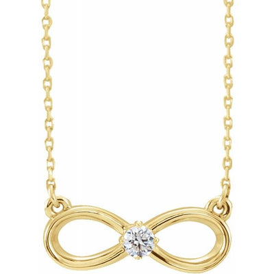 "14K Yellow 1/10 CT Diamond Infinity-Inspired 16-18"" Necklace - TreasureFineJeweler"