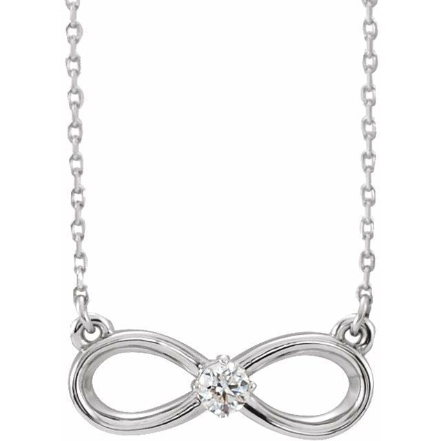 "14K White 1/10 CT Diamond Infinity-Inspired 16-18"" Necklace"