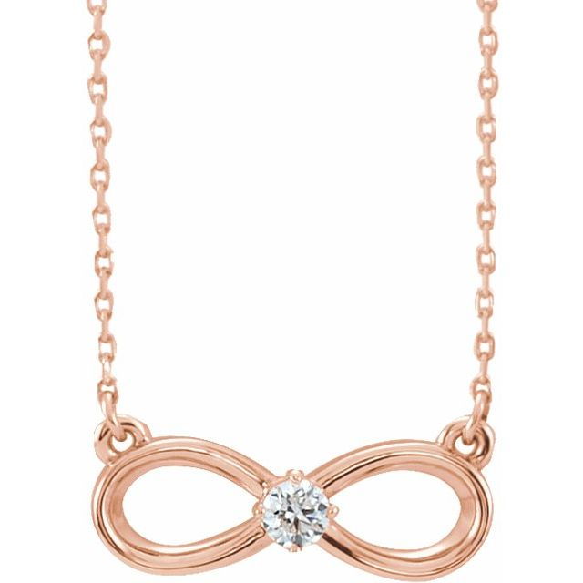 "14K Rose 1/10 CT Diamond Infinity-Inspired 16-18"" Necklace"