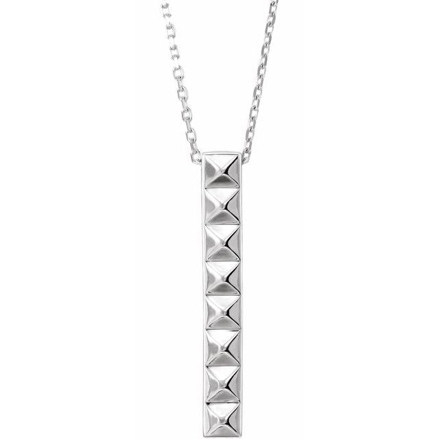 "Sterling Silver Pyramid Bar 16-18"" Necklace"