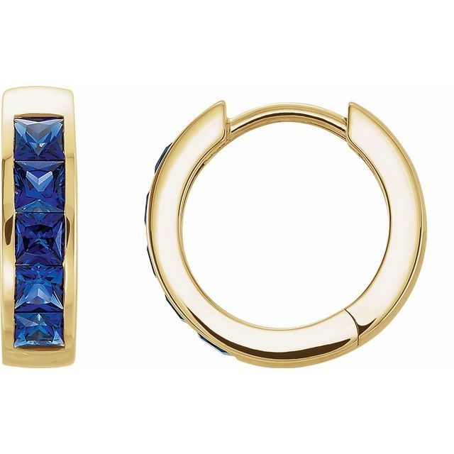 14K Yellow Chatham® Created Blue Sapphire Hoop Earrings