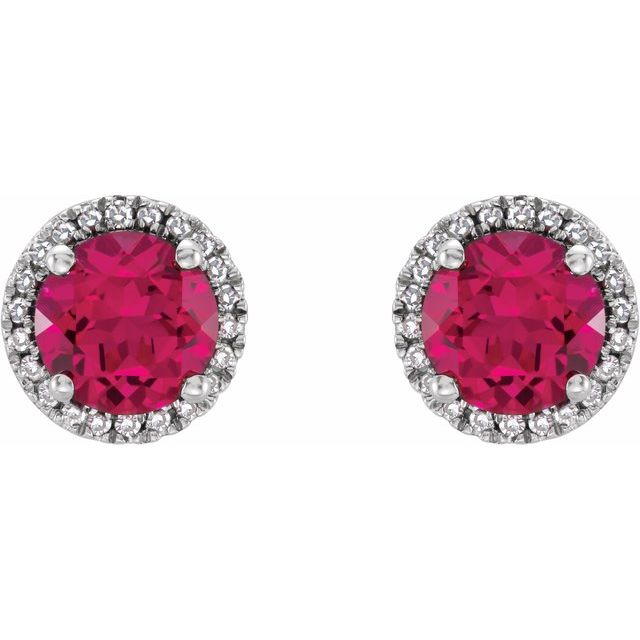 Sterling Silver Created Ruby & .01 CTW Diamond Earrings