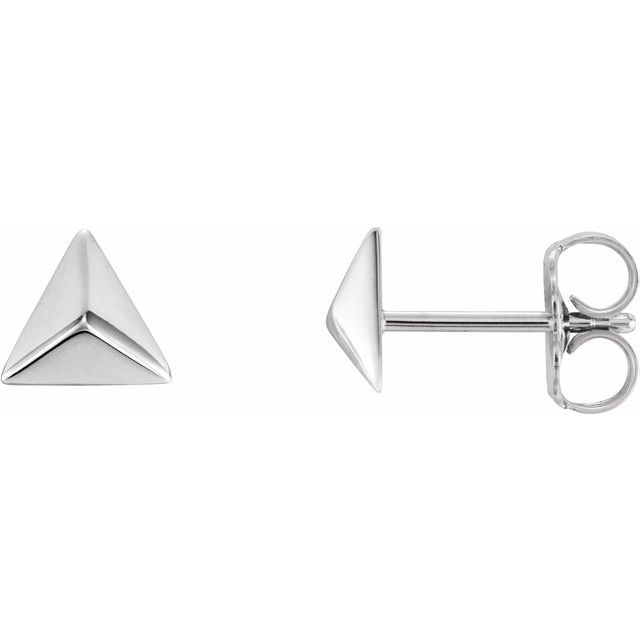 14K White Pyramid Earrings