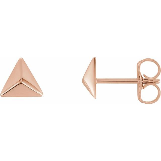 14K Rose Pyramid Earrings