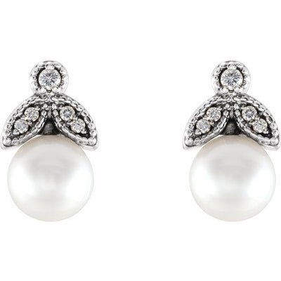 14K White Freshwater Pearl & .07 CTW Diamond Earrings