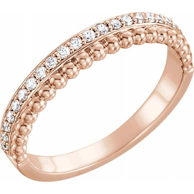 14K Rose 1/5 CTW Diamond Beaded Ring