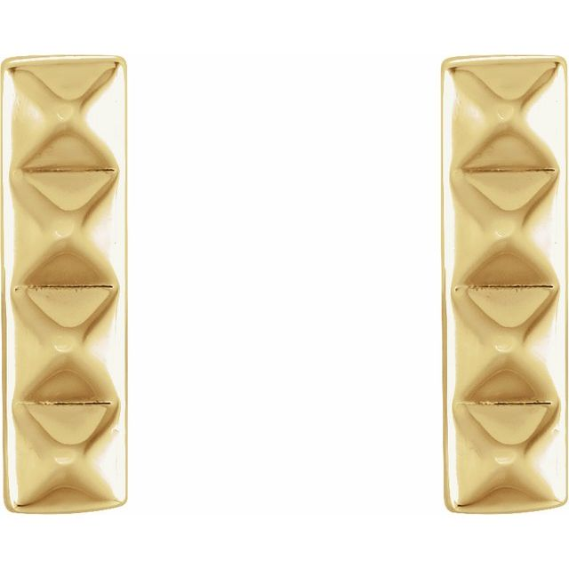 14K Yellow Pyramid Bar Earrings