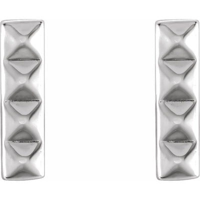 Sterling Silver Pyramid Bar Earrings