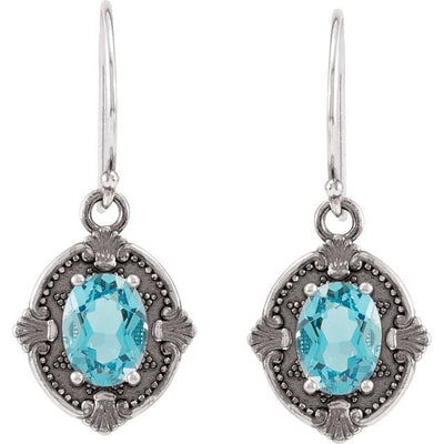 Sterling Silver Swiss Blue Topaz Earrings