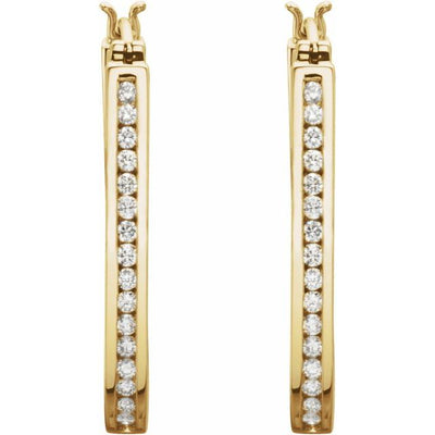 14K Yellow 1 CTW Diamond Inside-Outside 30 mm Hoop Earrings