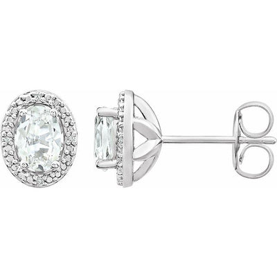 Sterling Silver Created White Sapphire & .025 CTW Diamond Earrings
