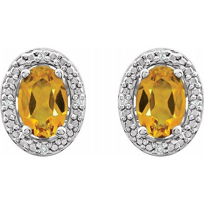 Sterling Silver Citrine & .025 CTW Diamond Earrings