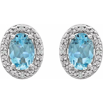Sterling Silver Sky Blue Topaz & .025 CTW Diamond Earrings